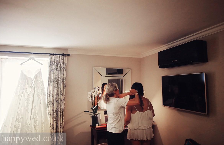 Bride getting ready at Angel Hotel Abergavenny