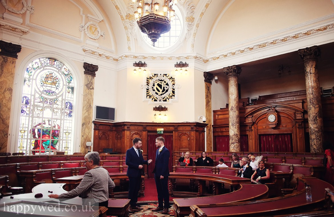wedding ceremony at Council Chamber in Cardiff City Hall