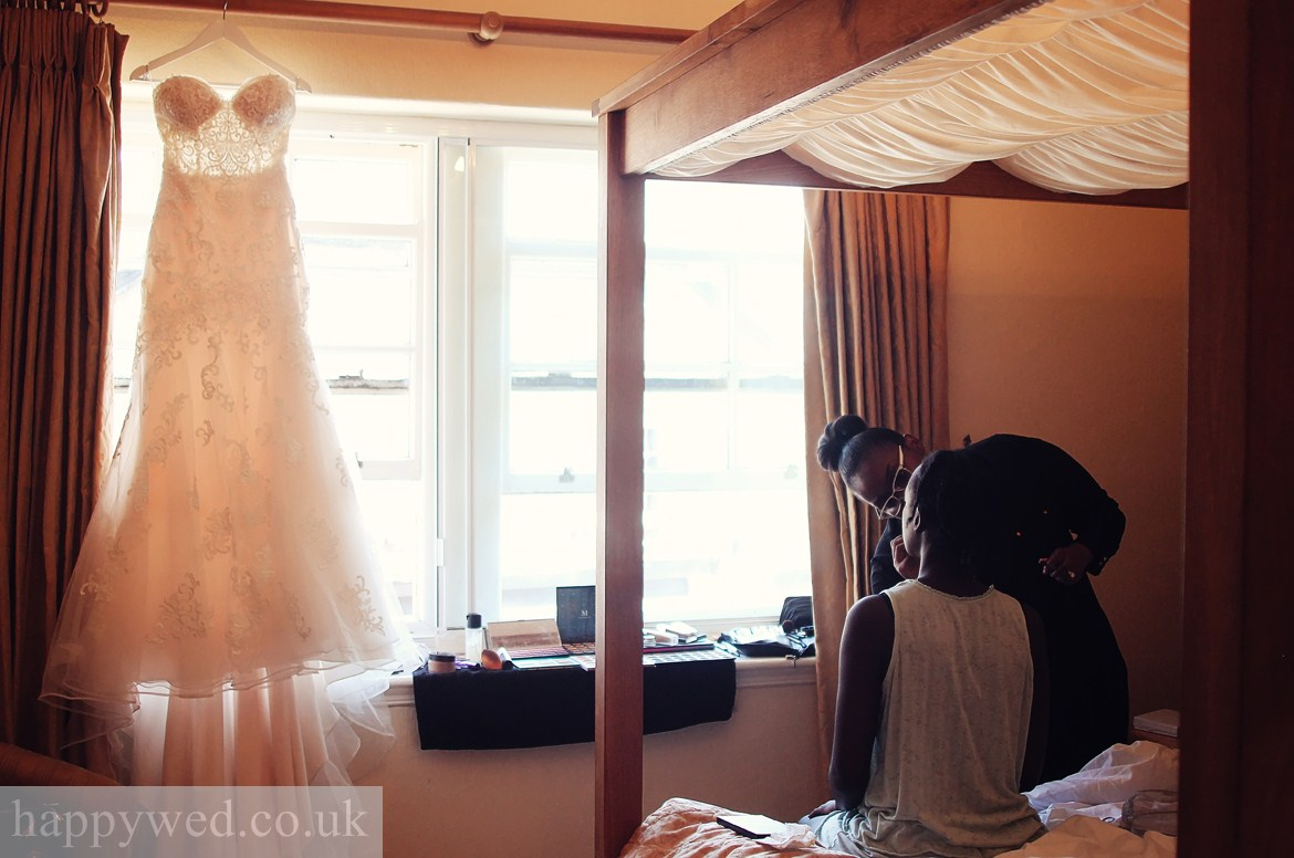 Bride getting ready at Three Salmons Hotel USK