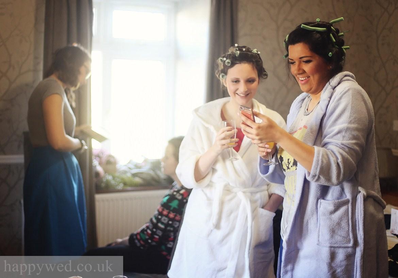 Bride getting ready at Llechwen Hall Hotel Pontypridd