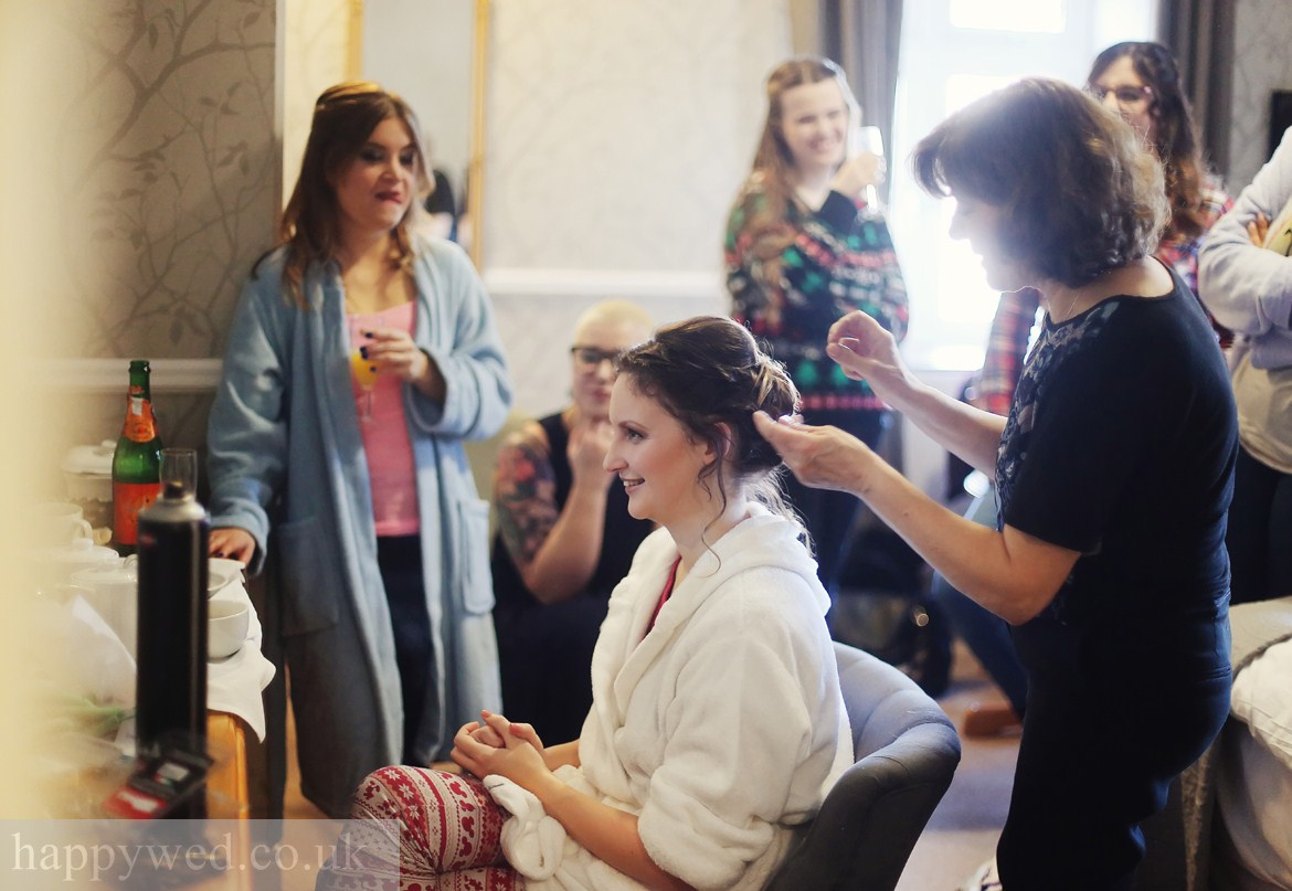Bridal preparations at Llechwen Hall Hotel Pontypridd