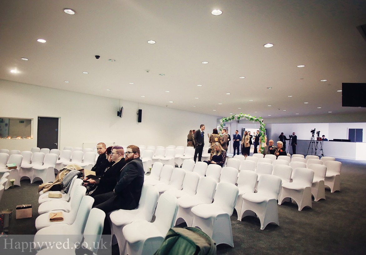 Wedding ceremony at Waterfromt community church Swansea