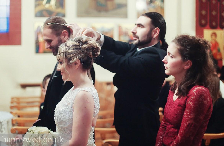 Orthodox wedding ceremony at greek church of St Nicholas
