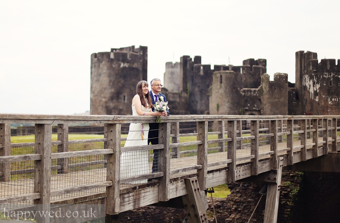 Caerphilly Castle wedding photo