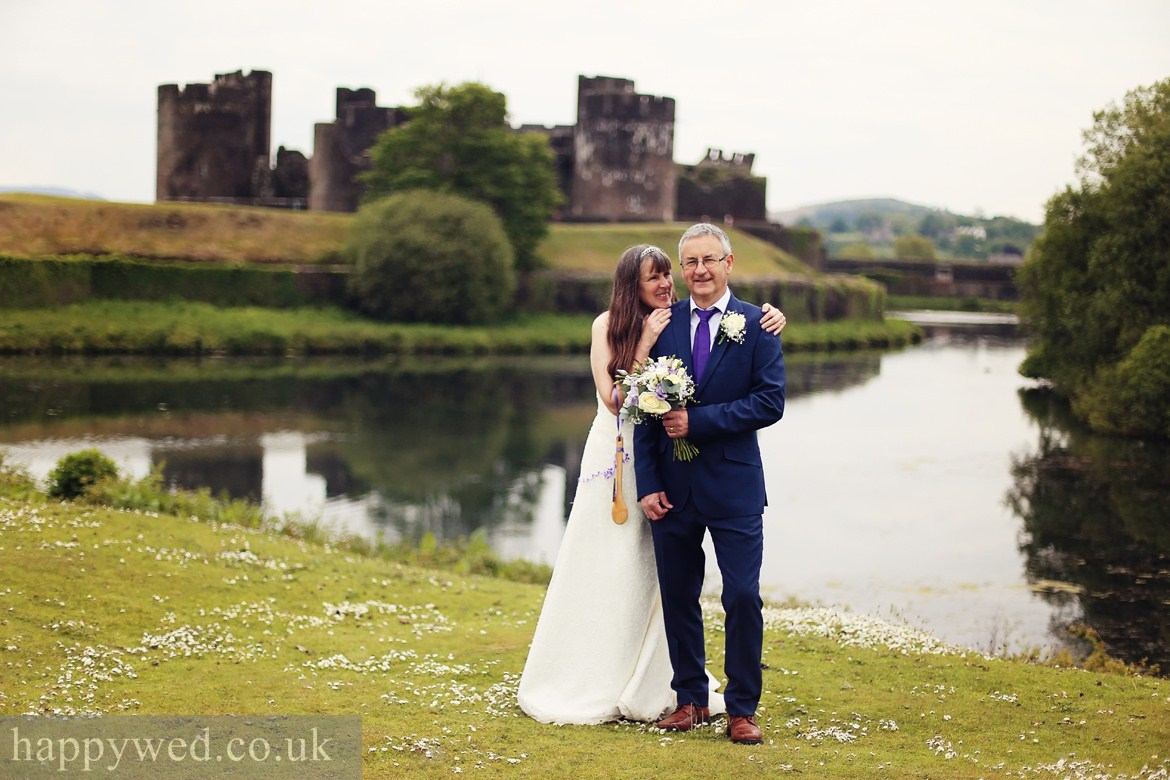 wedding photography at Caerphilly Castle
