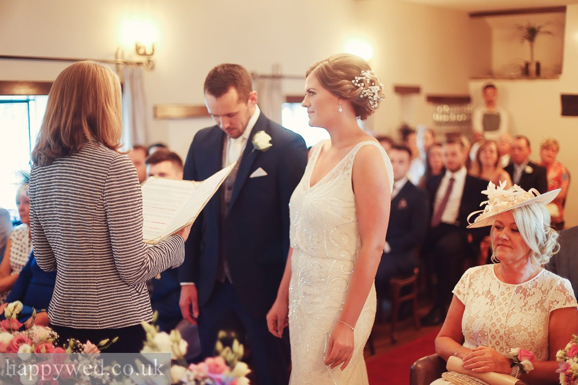 Marriage ceremony at Great House Hotel Laleston Bridgend