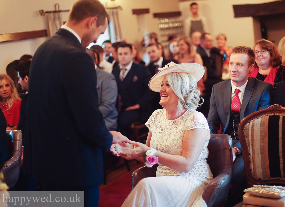 Wedding ceremony at Great House Hotel Laleston Bridgend