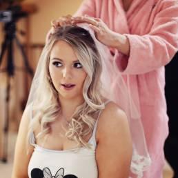 bride getting ready at caerhyn farm llangadog carmarthen