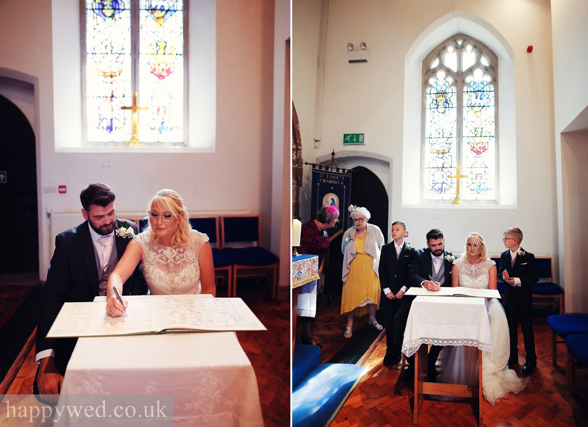 marriage ceremony at St Michael church Swansea