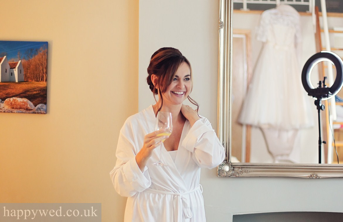 Bride getting ready at Old Post House
